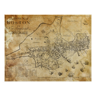 EARLIEST MAP of BOSTON 1722 Poster