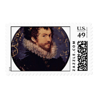Earliest Selfportrait Of Nicholas Hilliard By Hill Postage Stamp