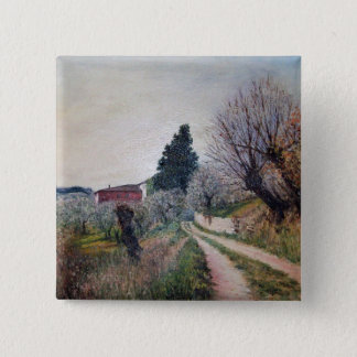 EARLIEST SPRING IN VERNALESE / Tuscany Landscape Button