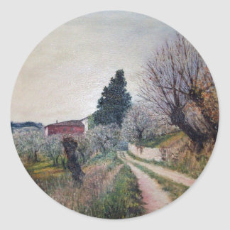 EARLIEST SPRING IN VERNALESE / Tuscany Landscape Classic Round Sticker