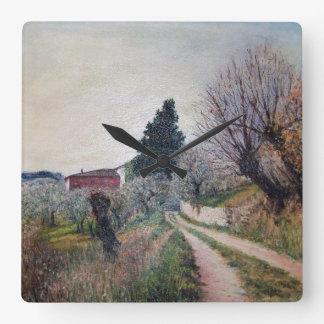 EARLIEST SPRING IN VERNALESE / Tuscany Landscape Square Wallclocks