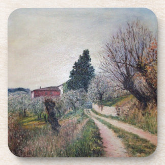 EARLIEST SPRING IN VERNALESE / Tuscany Landscape Coaster