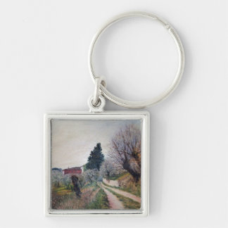 EARLIEST SPRING IN VERNALESE / Tuscany Landscape Silver-Colored Square Keychain