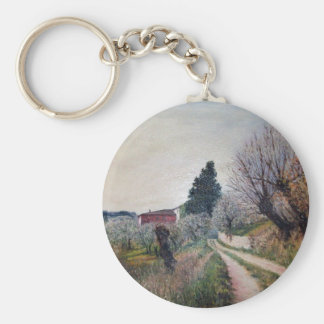 EARLIEST SPRING IN VERNALESE / Tuscany Landscape Basic Round Button Keychain