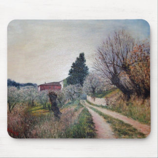 EARLIEST SPRING IN VERNALESE / Tuscany Landscape Mouse Pad