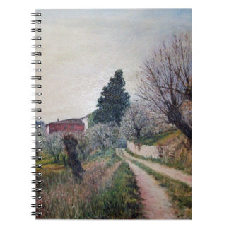 EARLIEST SPRING IN VERNALESE / Tuscany Landscape Spiral Note Books