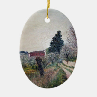EARLIEST SPRING IN VERNALESE / Tuscany Landscape Christmas Ornaments