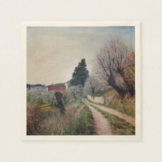 EARLIEST SPRING IN VERNALESE / Tuscany Landscape Disposable Napkins