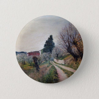 EARLIEST SPRING IN VERNALESE / Tuscany Landscape Pinback Button