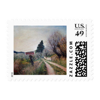 EARLIEST SPRING IN VERNALESE / Tuscany Landscape Postage Stamp