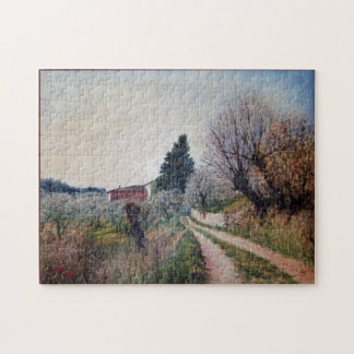 EARLIEST SPRING IN VERNALESE / Tuscany Landscape Jigsaw Puzzle