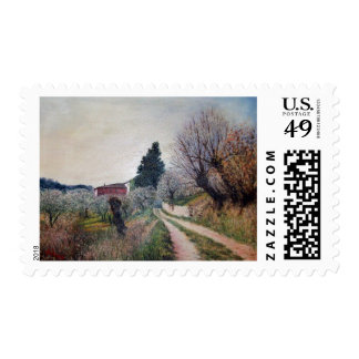 EARLIEST SPRING IN VERNALESE / Tuscany Landscape Stamp