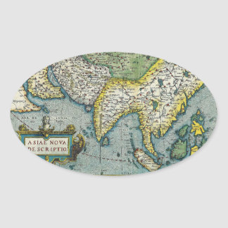 Early 16th Century Map of Asia Oval Sticker
