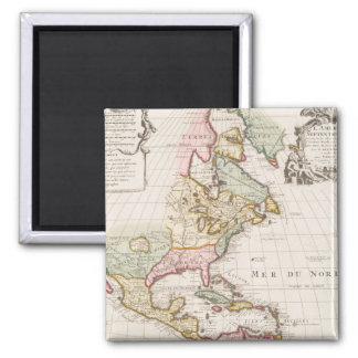 Early (1708) American Map ~ Vintage, L'Amerique 2 Inch Square Magnet