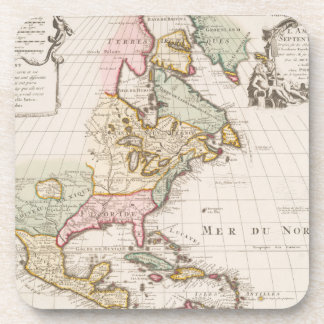 Early (1708) American Map ~ Vintage, L'Amerique Beverage Coaster