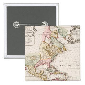 Early (1708) American Map ~ Vintage, L'Amerique Pinback Button