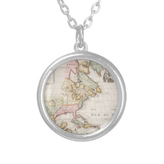 Early (1708) American Map ~ Vintage, L'Amerique Silver Plated Necklace