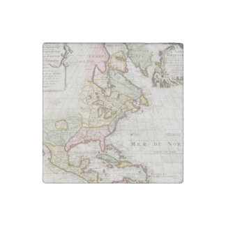 Early (1708) American Map ~ Vintage, L'Amerique Stone Magnet