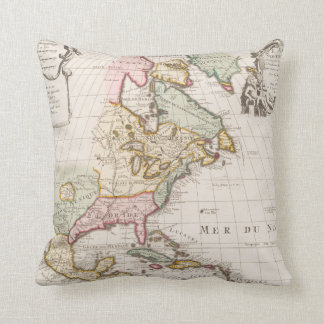 Early (1708) American Map ~ Vintage, L'Amerique Throw Pillow
