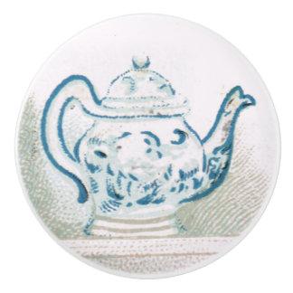 Early 1900s Blue & White Teapot Ceramic Pull