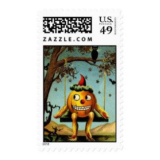 Early 1900s Halloween Jack O Lantern Postage Stamp