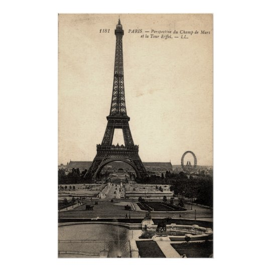 Early 1900's Vintage Eiffel Tower Poster