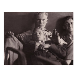 Early 1930's: Young Men on Bed  Karsava, Latvia Postcard