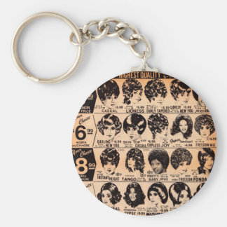 early 1970s wig advertisement keychain