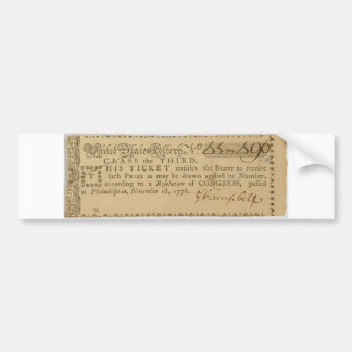 Early American Revolutionary War Lottery Ticket Bumper Stickers