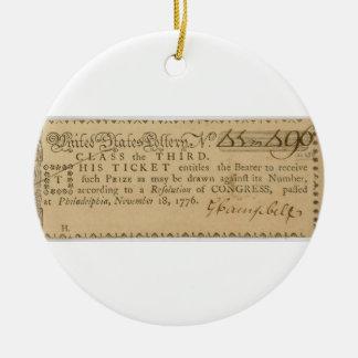 Early American Revolutionary War Lottery Ticket Ceramic Ornament