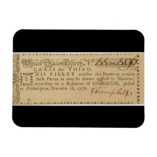 Early American Revolutionary War Lottery Ticket Magnet