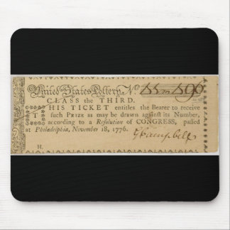 Early American Revolutionary War Lottery Ticket Mouse Pad