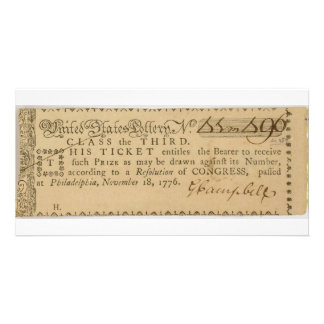 Early American Revolutionary War Lottery Ticket Customized Photo Card