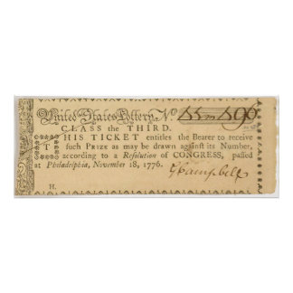 Early American Revolutionary War Lottery Ticket Photo