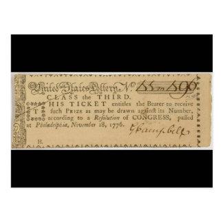 Early American Revolutionary War Lottery Ticket Postcard