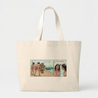 Early American Settlers Offbeat Cartoon Gifts Large Tote Bag