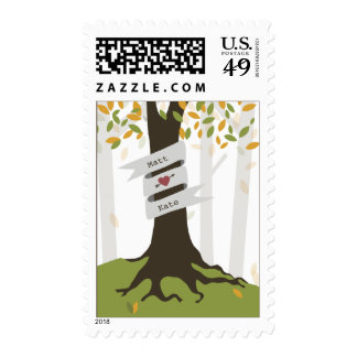 Early Autumn Forest Leaves Wedding Postage