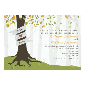 Early Autumn Leaves Forest Rehearsal Dinner Invitation