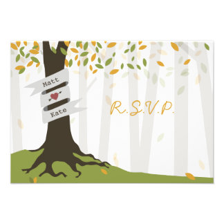 Early Autumn Leaves Forest Wedding RSVP Custom Invite