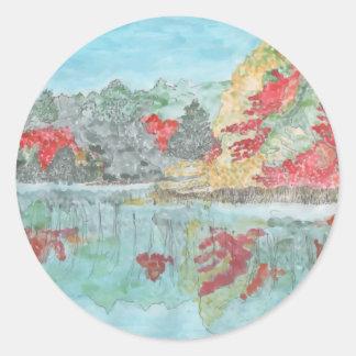 Early Autumn Stream Classic Round Sticker