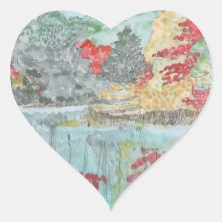 Early Autumn Stream Heart Sticker