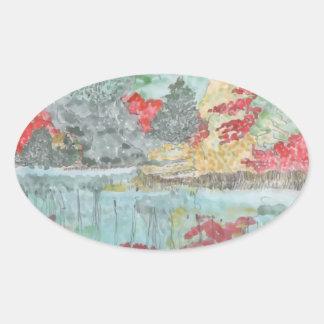Early Autumn Stream Oval Sticker