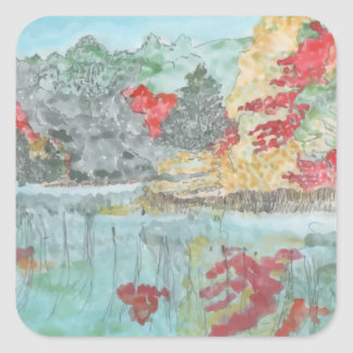 Early Autumn Stream Square Sticker