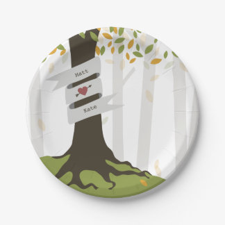 Early Autumn Woodland Wedding Paper Plate