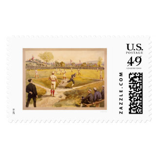 Early Baseball Print 1887 Stamp
