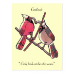 """"""" Early bird catches the worm.""""Postcard"""
