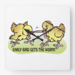 Early Bird Gets The Worm Clocks