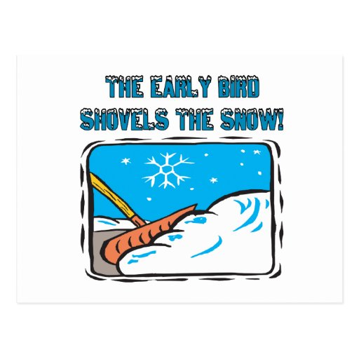 Early Bird Shovels The Snow Postcards
