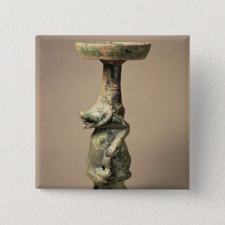 Early Chinese pottery lamp, tomb artefact Pinback Button
