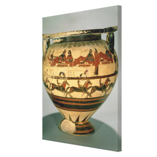 Early Corinthian black-figure column-krater depict Stretched Canvas Print